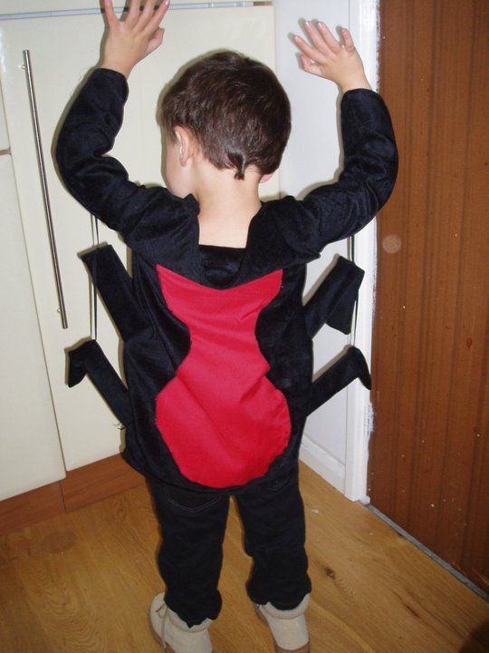 Spider costume made from black chenille. Legs are bamboo canes in black tubes suspended with elastic from arms.
