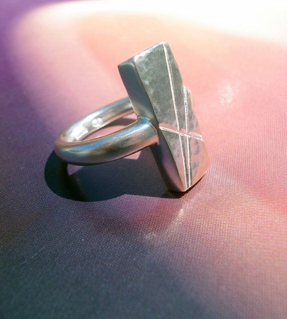 Sterling silver chunky ring with patterned by MyLittleEtsyBoutique, $95.00