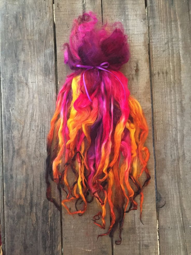 "10-12 inch Suri Alpaca Locks, Doll Hair, Spinning Locks, Hand Dyed, ""Orchid Bouquet"", 1 ounce by CedarGroveRanch on Etsy"