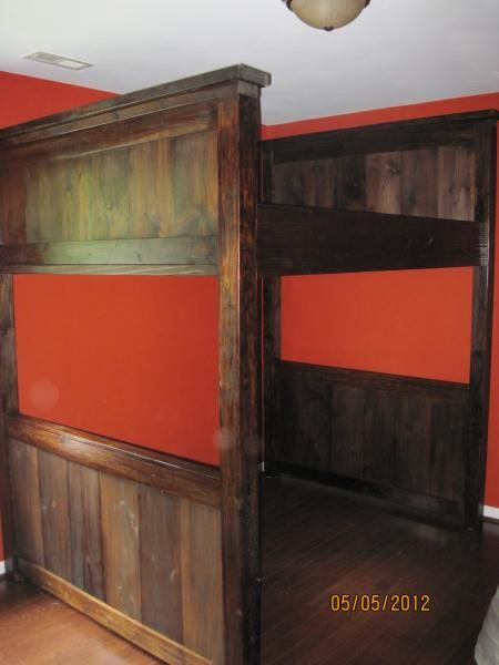 farmhouse loft bed full do it yourself home projects from ana white homemade small kids. Black Bedroom Furniture Sets. Home Design Ideas