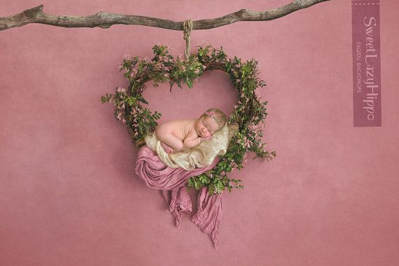Newborn digital backdrop heart wreath of fresh by SweetLazyHippo