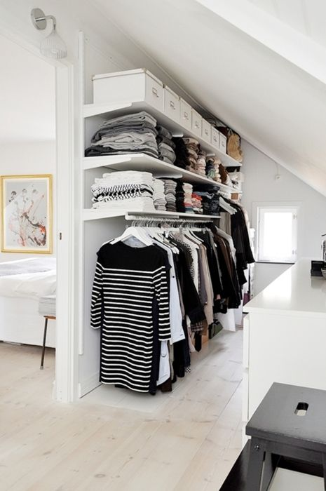 One of the houses we're looking at has an attic closet just like this one.. Mine would NOT be just black and white though!