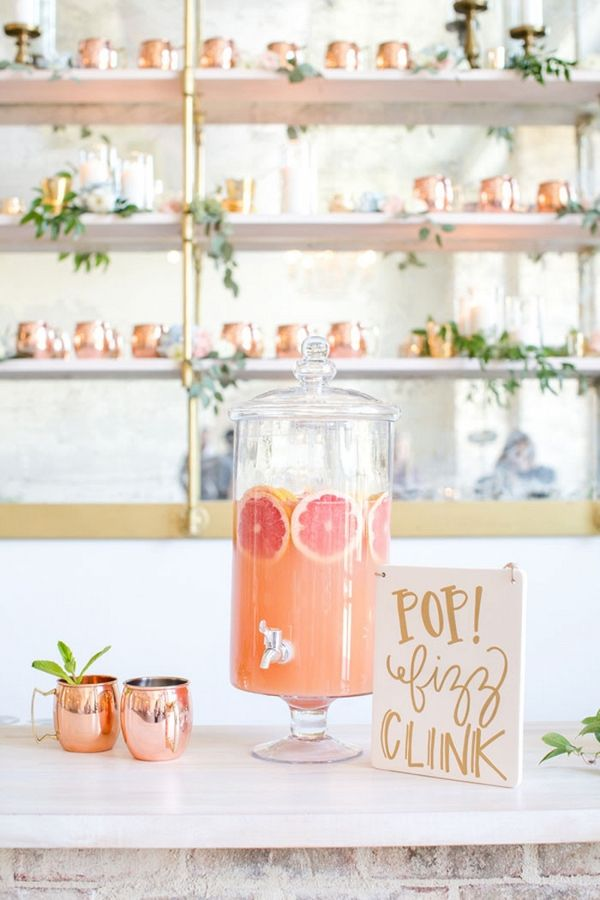 Copper and Citrus Specialty Cocktail Station   Anna Holcombe Photography on @heyweddinglady via @aislesociety
