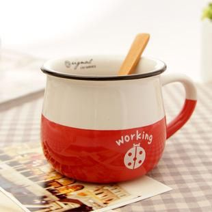 Wholesale Mugs - Buy New 2013 Zakka Retro Ceramic Breakfast Cup Chromatic Cup with a Wooden Spoon Mug Sen Female Small Fresh, $15.0 | DHgate