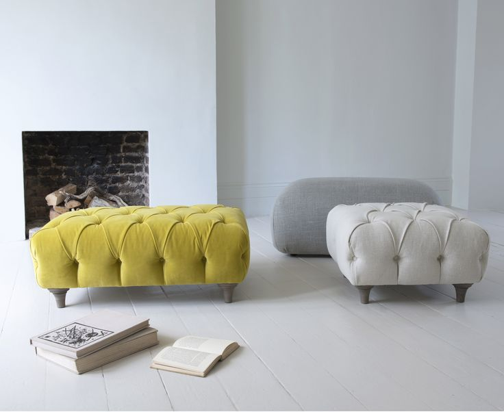 Loaf's handmade footstools shot in this paired back living room