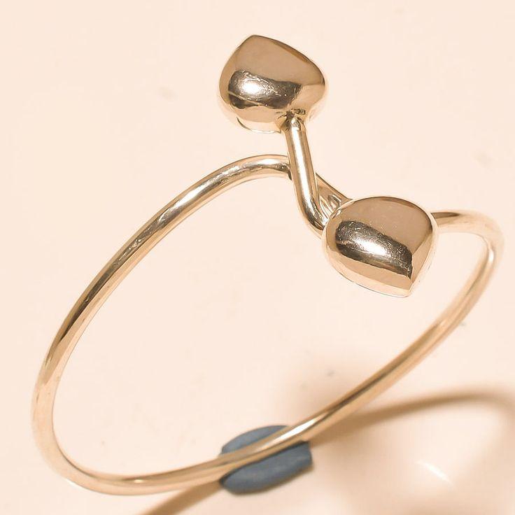 "92.5% SOLID STERLING SILVER OUTSTANDING HEART DESIGNER BANGLE SIZE- 8"" #Handmade"
