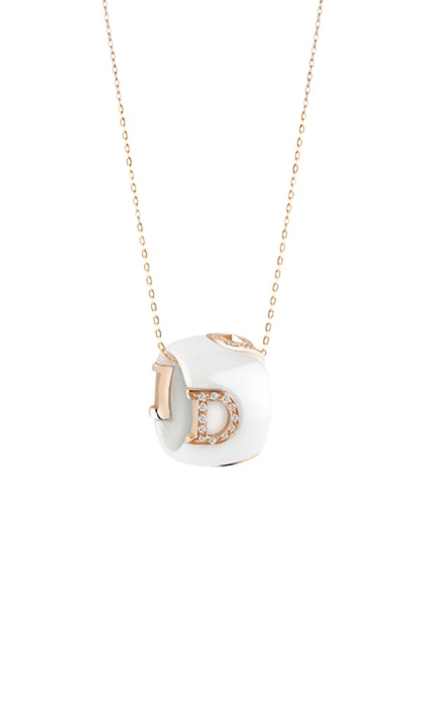 D.Icon white ceramic, pink gold and diamonds necklace