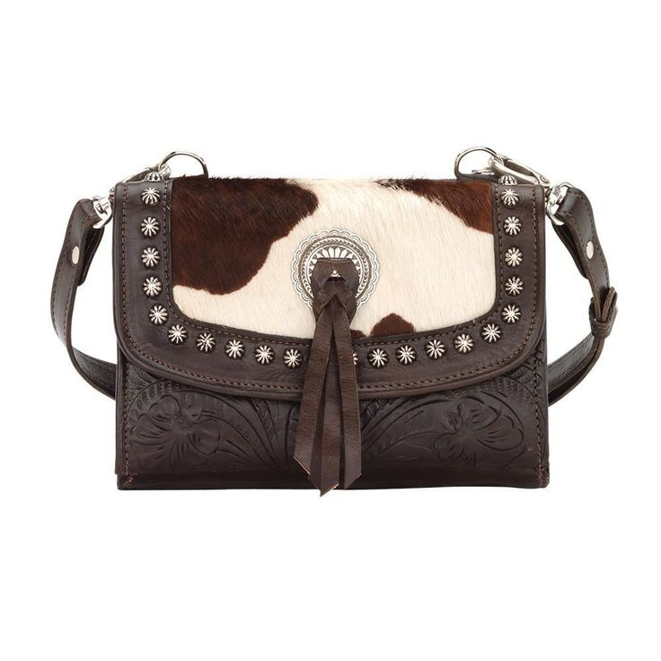 Texas Two Step Small Crossbody Bag/Wallet - Chocolate / Pony Hair