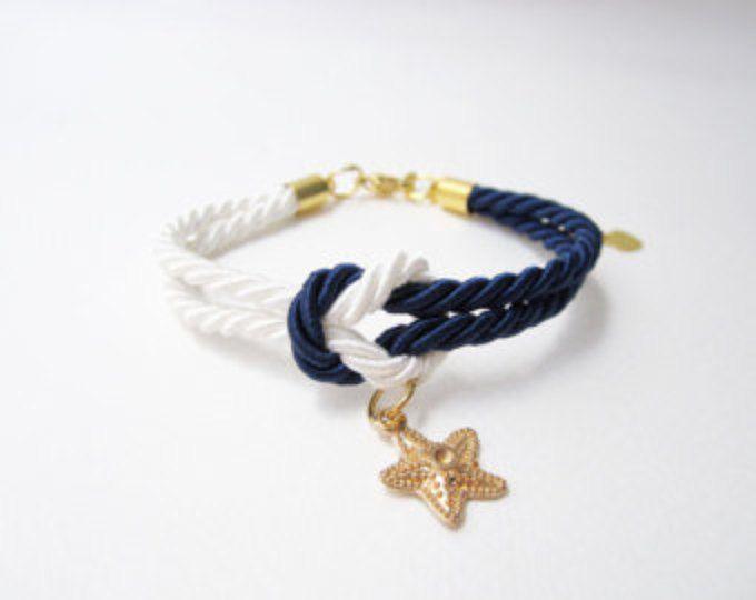 pulsera estrella de mar, regalo de la Dama de honor, crucero regalo de boda, favores de la boda de playa, pulsera de nudo con estrellas de mar, atar el nudo joyería, blanca Marina