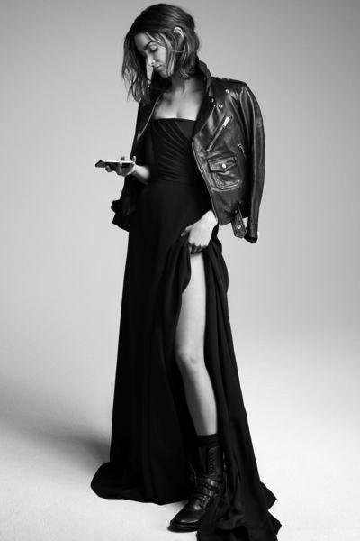 Biker Jacket and long Dress on Charlotte Le Bon ❥ 4U // hf http://www.pinterest.com/hilariafina/