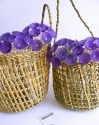 Natural fibers baskets with horsehair flowers