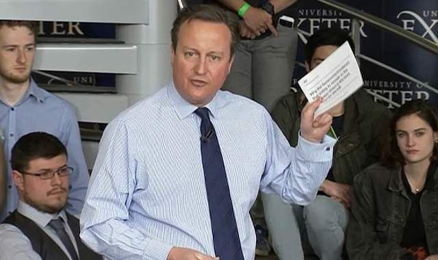 """Austerity doesn't count if it's used to keep Cameron in his job. David Cameron has said he makes """"no apology"""" for a £9.3m leaflet campaign as he urged young people to vote to stay in the EU.  Speaking to an audience of students in Devon, Mr Cameron brandished the leaflet and said: """"The UK Government, with our experience, our understanding, our knowledge"""