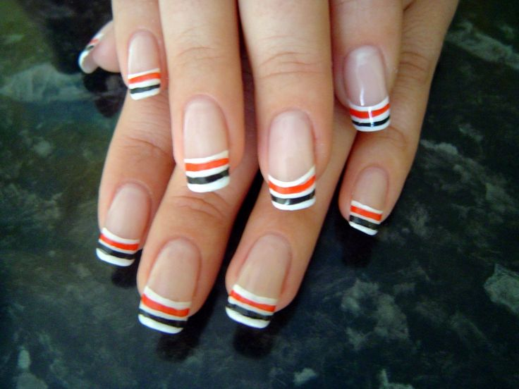 Colored french nail art designs