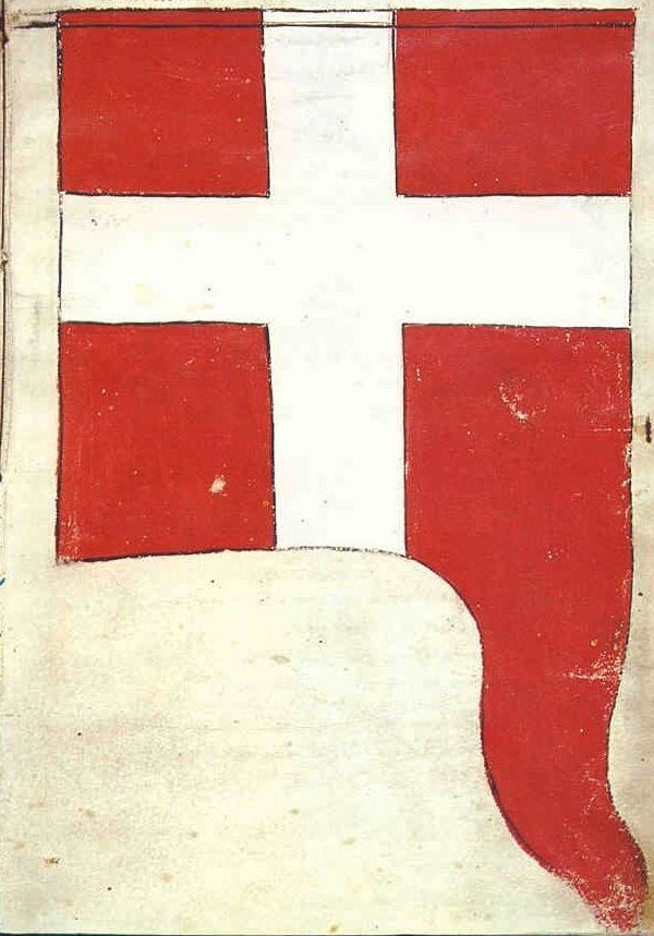 "f°5r, Banner of St. George, on the Teutonic side, which was led by Georg Kerzdorff -- ""Banderia Prutenorum"", by Jan Dlugosz, 1410"