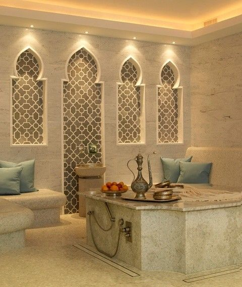 Upscale Moroccan bathroom.