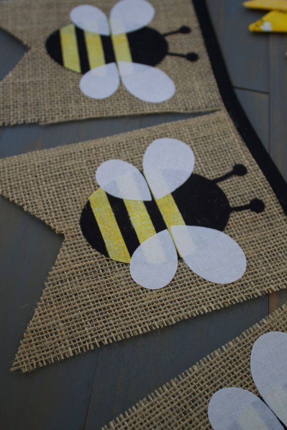 Honey Bee Nursery First Birthday Burlap and Fabric Pennant Bunting Banner for Birthday Party Decoration or Nursery by MsRogersNeighborhood Etsy shop