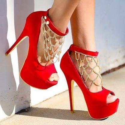 Red Suede Platform High Heel Wedding Shoes with Rhinestone Decoration