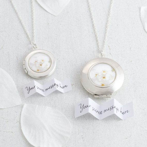 Personalised silver Orchids locket