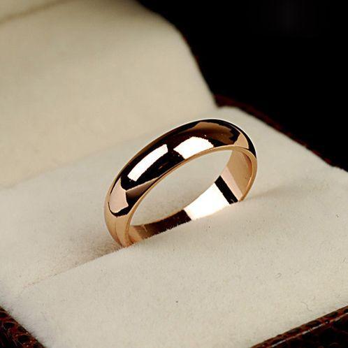 DCM Envío Gratis Joyería Anillo de Cristal de oro rosa de Color Simple anillo De Bodas de Parejas anillos bijouterie para hombre o mujer