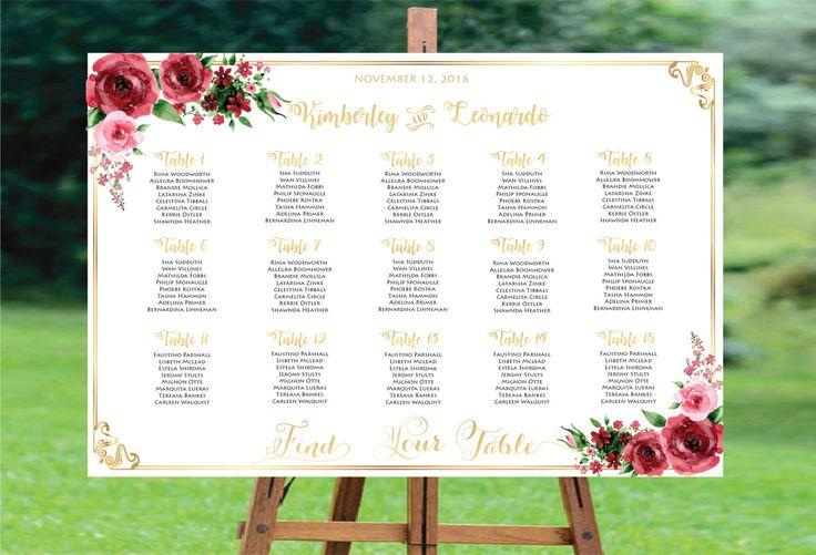 Wedding Seating Chart, Wedding Seating Chart Template , Wedding Seating Chart Printable,Wedding Seating Plan,Wedding Seating Board,Gold Foil by designinvitationsbk on Etsy