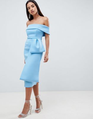 b0f0c6466845a8 DESIGN Scuba extreme bow front midi dress in 2019 | Gowns | Dresses ...