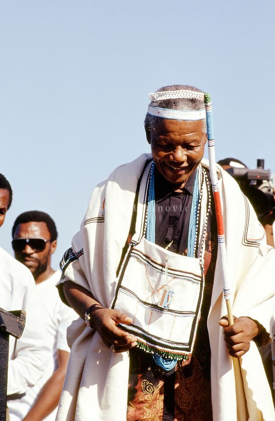 Nelson Mandela wears traditional Xhosa attire during part of his campaign tour, 1994.  Eastern Cape, South Africa | ©Greg Marinovich