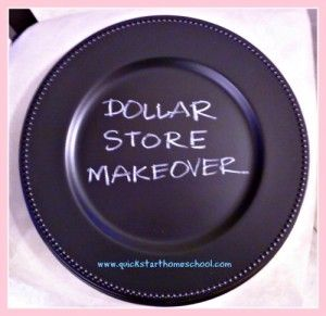 Chalkboard chargers -- using dollar store chargers and spray paint!