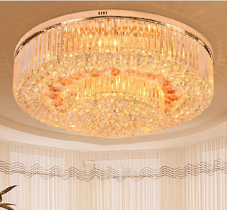 Free Shipping Golden Round Crystal Ceiling Lamp LED Lustres de cristal Chandelier lighting for foyer Lamparas de Techo Home #Affiliate