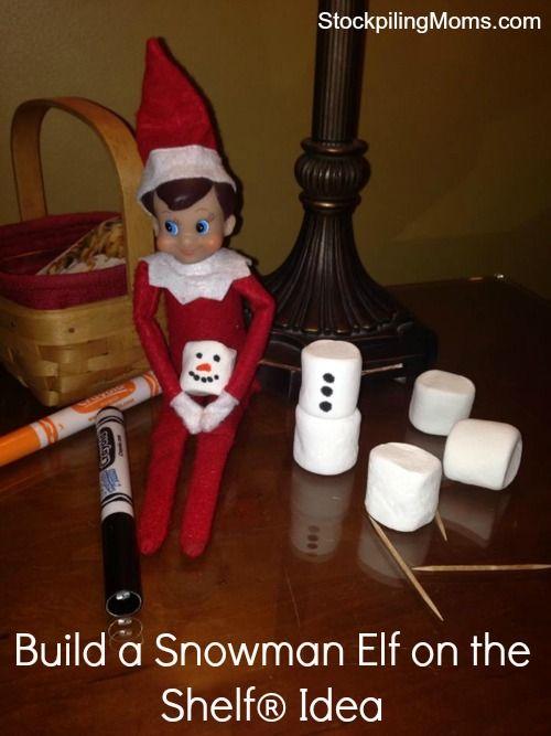 Build a snowman Elf on the Shelf® Idea #ElfOnTheShelf #Christmas