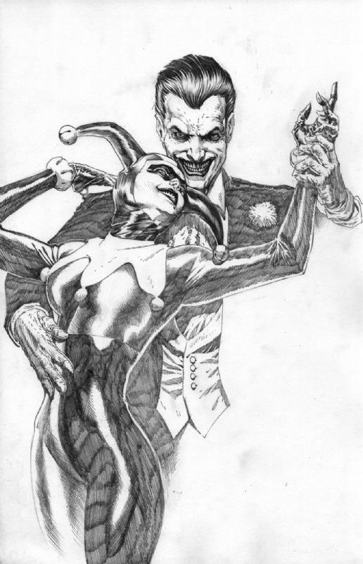 Alex Ross Joker Harley Quinn Homage (FS $300) Comic Art