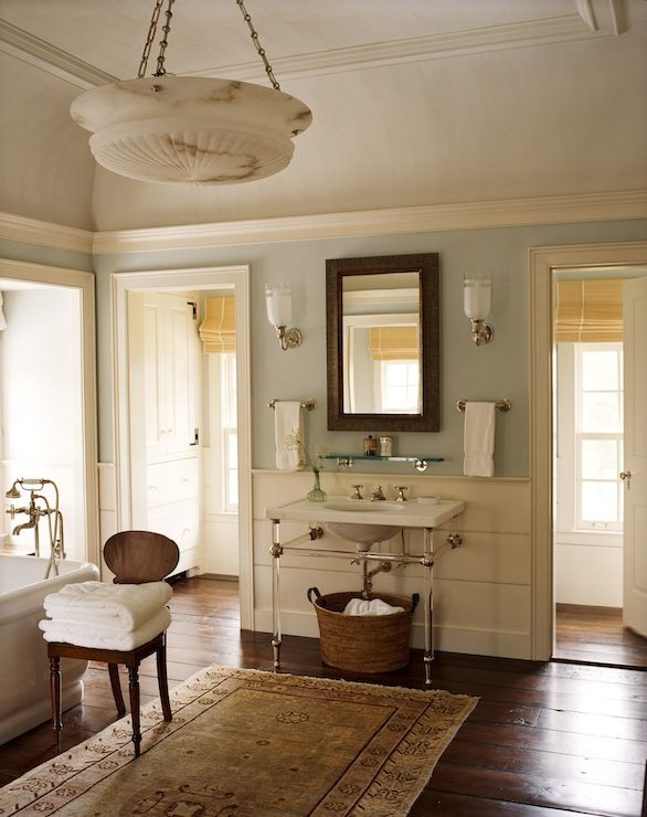 Suzie: G. P. Schafer Architect - Farmhouse master bathroom with blue gray paint color, 2-leg ...
