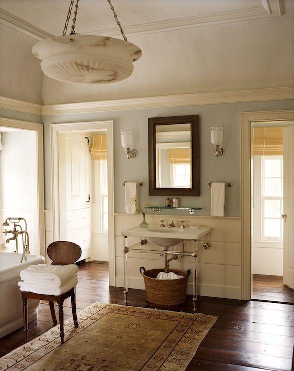 Suzie: G. P. Schafer Architect - Farmhouse master bathroom with blue gray paint color, 2-leg ...