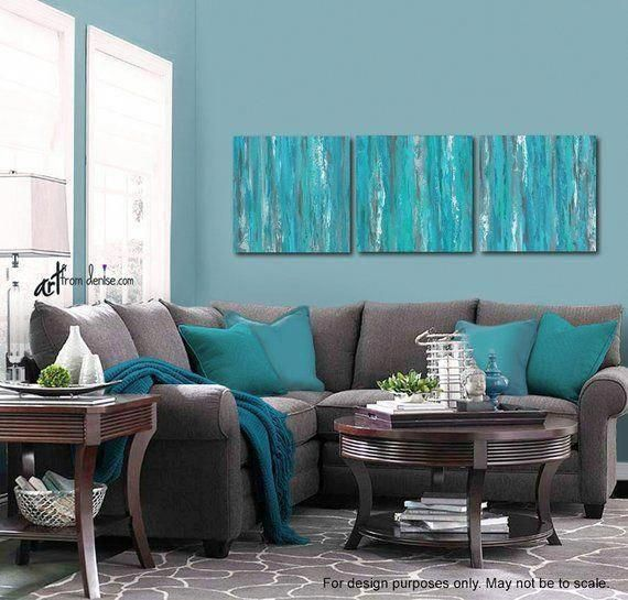 Gray And Teal Wall Art 3 Piece Canvas Abstract Set Blue Green Living Room Dining Or Bedroom Art Work Triptych In 2020 Living Room Turquoise Living Room Green Blue Living Room Decor