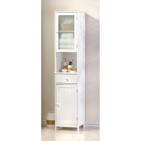 70 9 Tall White Bathroom Linen Closet Cabinet Storage Shelves Cottages And Shabby