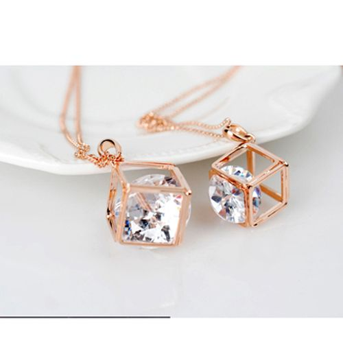 Fashion Women Lady Jewelry Pendant Small Cube Long Chain Sweater Necklace