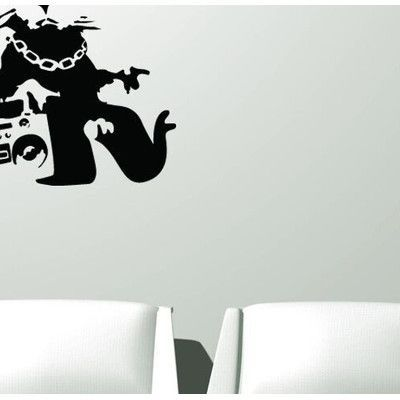 "Style and Apply Banksy Gangsta Rat Wall Decal Color: Pastel Orange, Size: 31"" H x 31"" W"