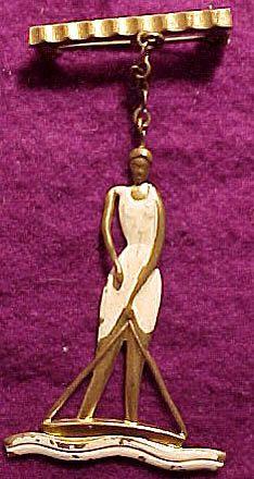 Art Deco Brass & Enamel Woman Swimmer Bather PIN Brooch 1920