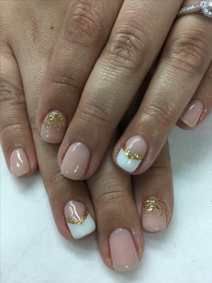 Nude Gold Glitter Chevron Gel Nails