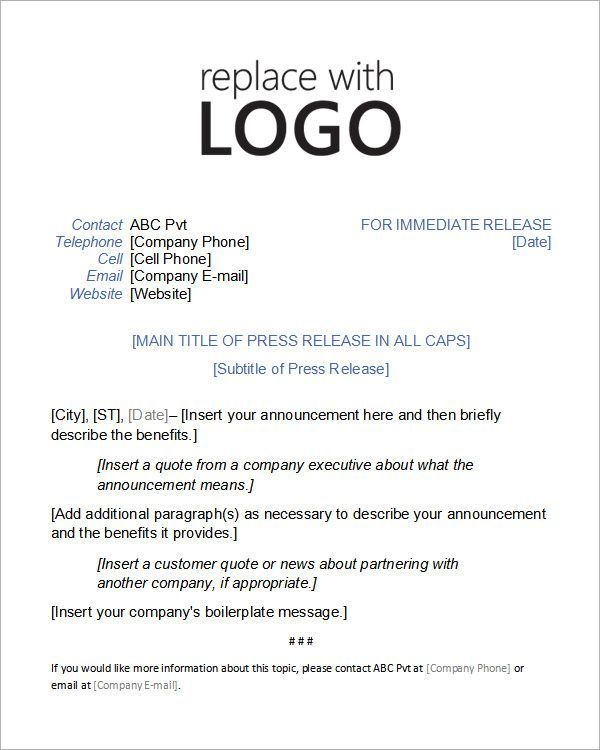 Press Release Format Press Release Template Press Release Example Press Release