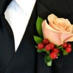 Single Rose #Boutonniere Price:  $9.98 Orange unique rose with red coffee bean and ruscus.