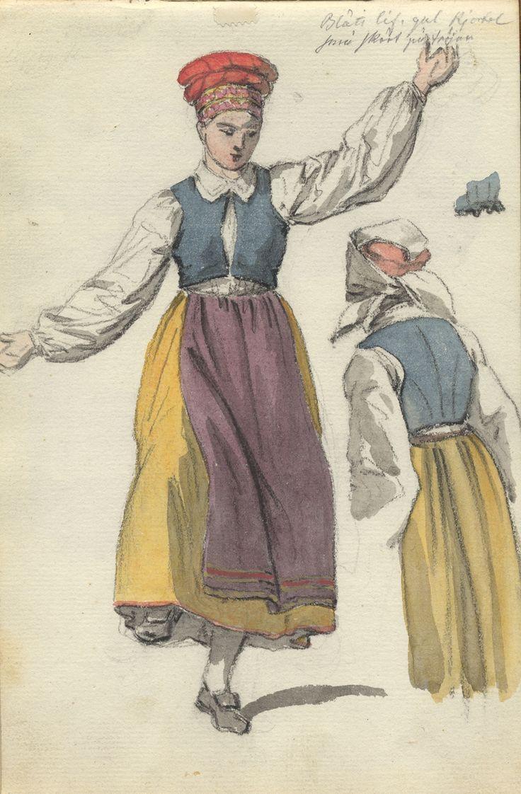 """SE Vingåker. Akvarell. Dräktskiss, kvinnodräkt. Dansande kvinnor i folkdräkt. Vingåker. Helfigur framifrån, detalj bakifrån. """"Blått lif, gul kjol, små skört (?) på tröjan"""". Skiss ur skissbok ur Johan Gustaf Sandbergs arkiv, Nordiska museet  INV.NR: NM.0080508."""