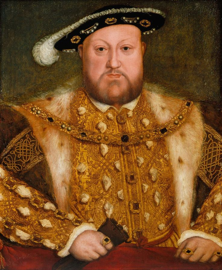 KING HENRY VIII of England. b. 1491, d. 1547. Famous for breaking away from Pope to est. Church of England, six wives, father of Bloody Mary and Elizabeth I.