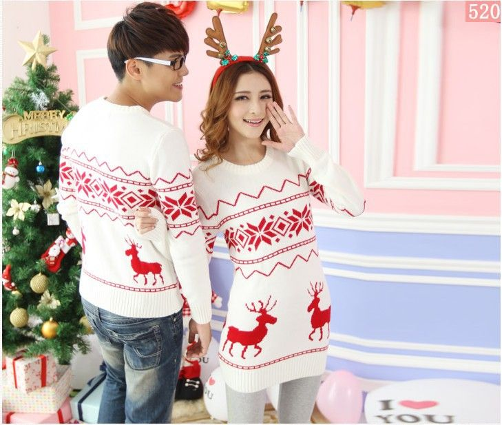 Quality reindeer christmas sweater for men and women couples matching christmas sweaters for lovers couple Christmas sweaters-in Pullovers f...