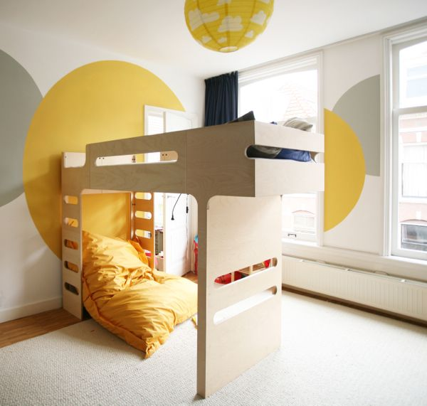 Rafa kids rafa kids f bunk bed in a yellow room kids Futon for kids room