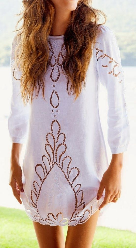 White Eyelet Tunic with floral work - very Spanish.