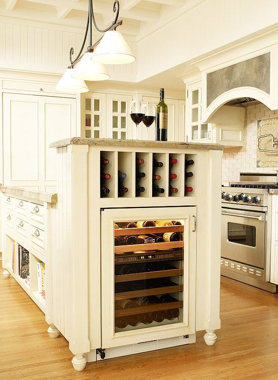 Island with built in wine fridge and rack!