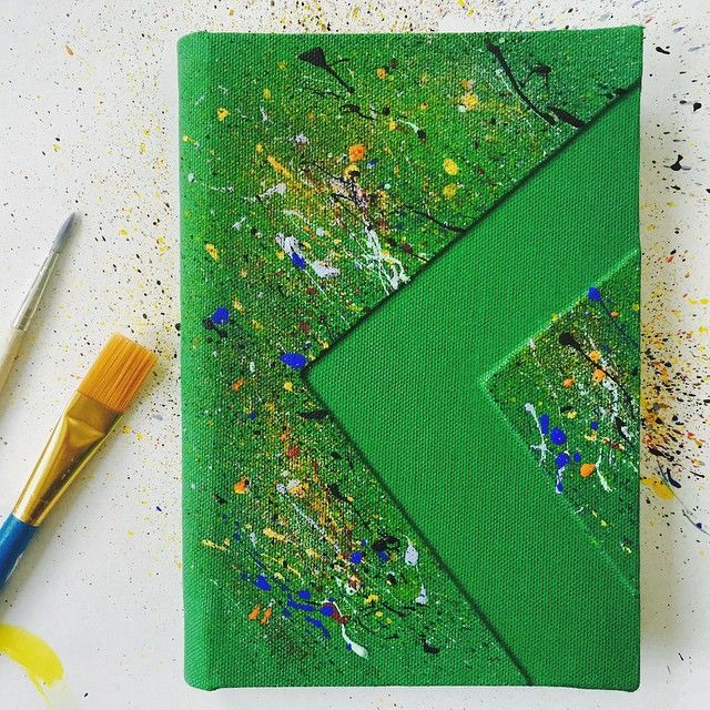 Splash notebook. 6 by 8 inches, blank pages recycled ivory paper. Green canvas fabric 100%cotton, embossed. #buynow for $44