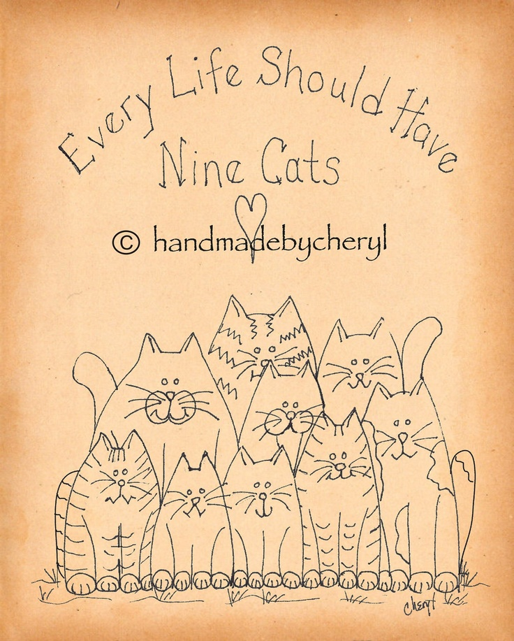 Cat Hand Embroidery Doodle for Stitching. $2.00, via Etsy.