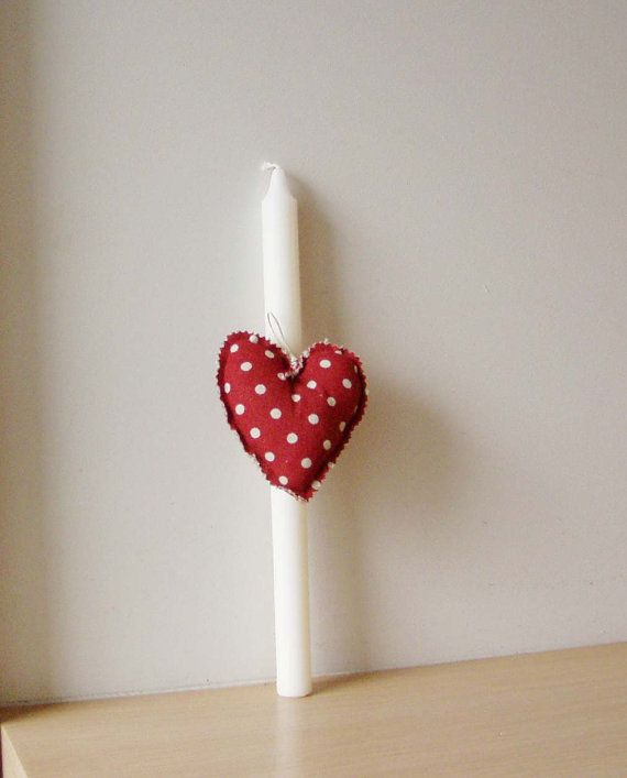 Greek Easter candle with red heart plush by ArktosCollectibles, $13.60