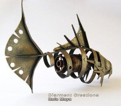 steampunk fish sculpture by Rafa Maya on sale at Etsy.